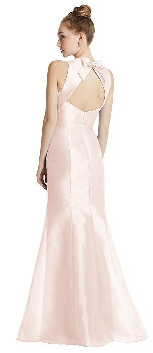 Bateau Neck Open-Back Maxi Dress with Bow Detail