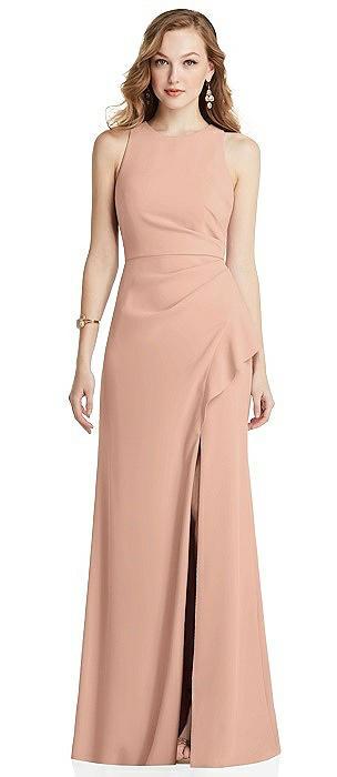 Halter Maxi Dress with Cascade Ruffle Slit