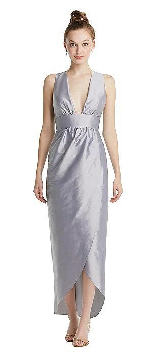 Plunging Neckline Shirred Tulip Skirt Midi Dress