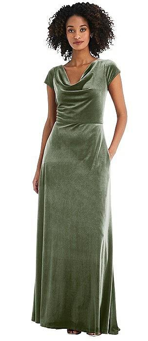 Cowl-Neck Cap Sleeve Velvet Maxi Dress with Pockets