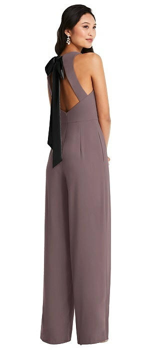 Cutout Open-Back Halter Jumpsuit with Scarf Tie