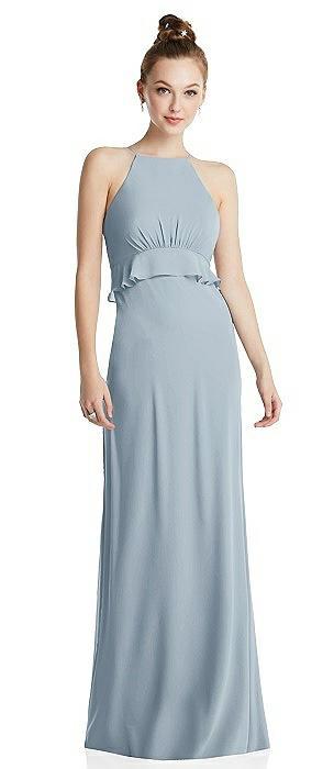 Bias Ruffle Empire Waist Halter Maxi Dress with Adjustable Straps