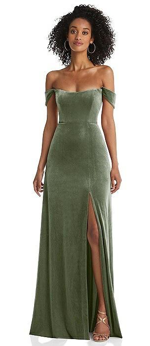Off-the-Shoulder Flounce Sleeve Velvet Maxi Dress