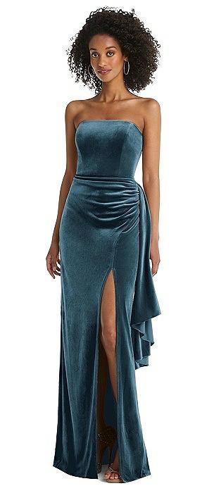 Strapless Velvet Maxi Dress with Draped Cascade Skirt