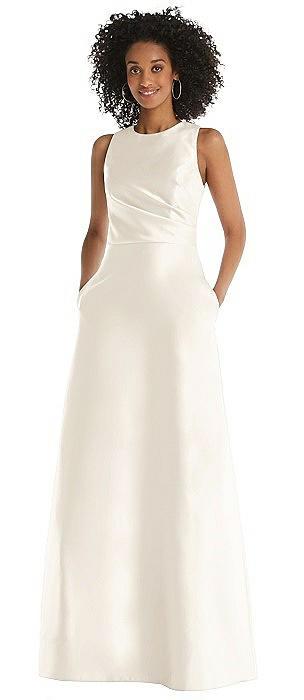 Jewel Neck Asymmetrical Shirred Bodice Maxi Dress with Pockets