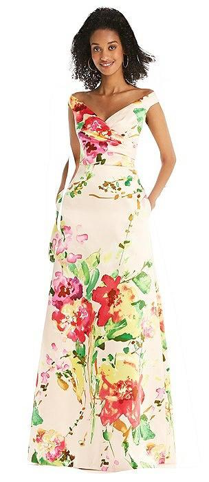 Blush Pink Floral Off-the-Shoulder Draped Wrap Maxi Dress