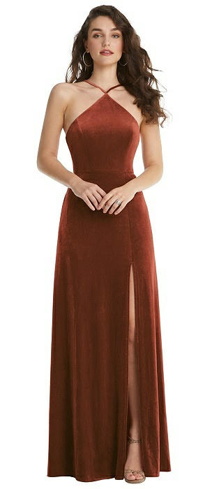 High Neck Halter Open-Back Velvet Dress - Alix