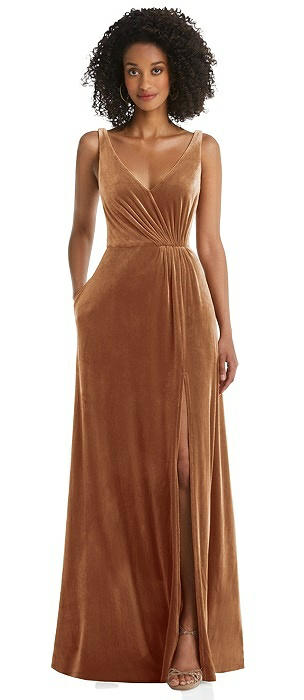 Velvet Maxi Dress with Shirred Bodice and Front Slit