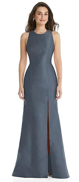 Jewel Neck Bowed Open-Back Trumpet Dress with Front Slit