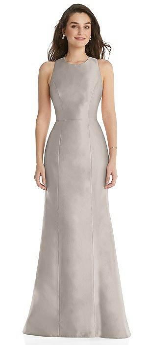 Jewel Neck Bowed Open-Back Trumpet Dress with Pockets