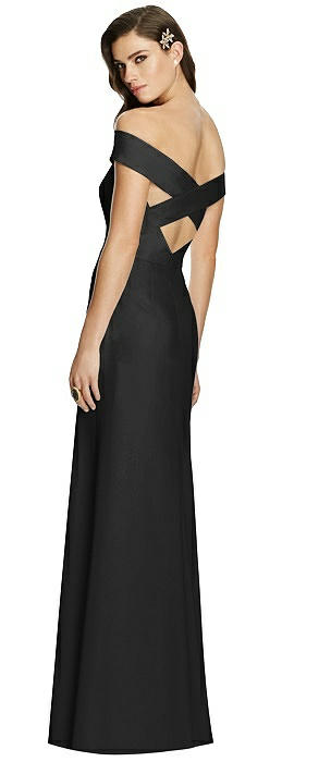 Off-the-Shoulder Straight Neck Dress with Criss Cross Back