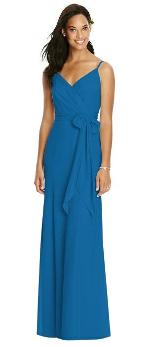 V-Back Draped Wrap Trumpet Gown with Sash