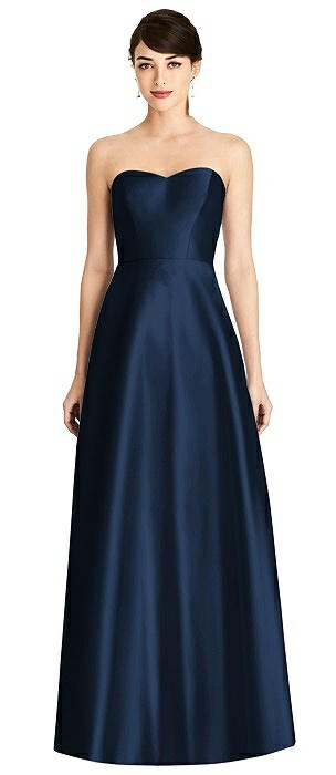 Strapless A-Line Satin Dress with Pockets