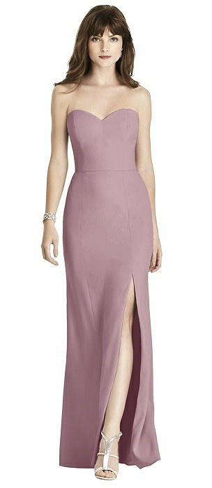 Strapless Crepe Trumpet Gown with Front Slit