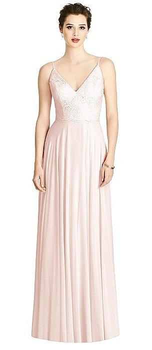Lace Bodice V-Back Full Skirt Chiffon Maxi Dress