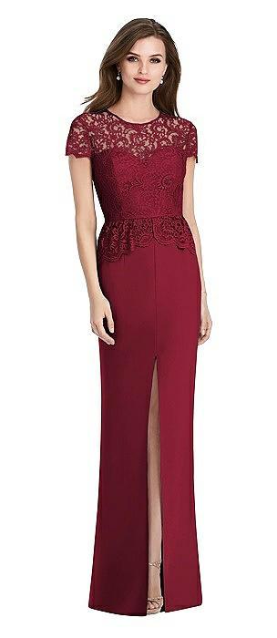 Short Sleeve Open-Back Lace Peplum Maxi Dress