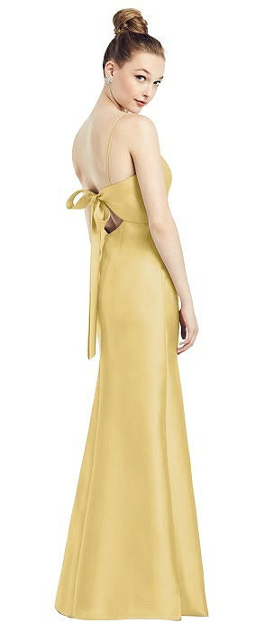 Open-Back Bow Tie Satin Trumpet Gown