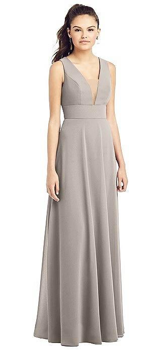 Adjustable Strap Illusion Neck Chiffon Gown