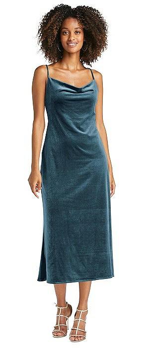 Cowl-Neck Convertible Velvet Midi Slip Dress - Isa
