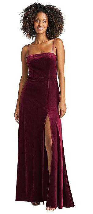 Square Neck Velvet Maxi Dress with Front Slit - Drew