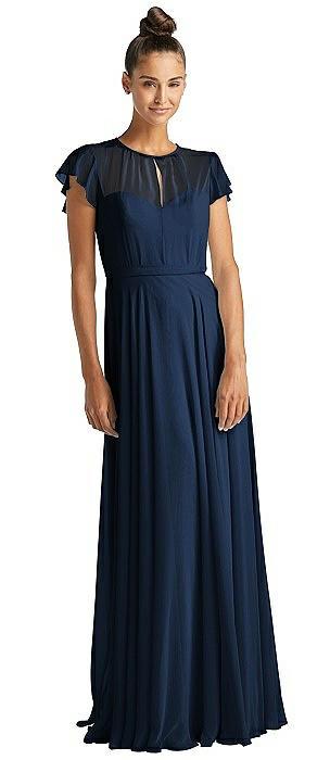 Flutter Sleeve Illusion Bodice Maxi Dress