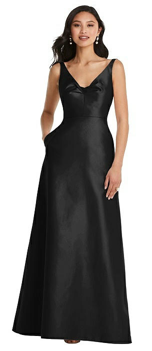 Pleated Bodice Open-Back Maxi Dress with Pockets