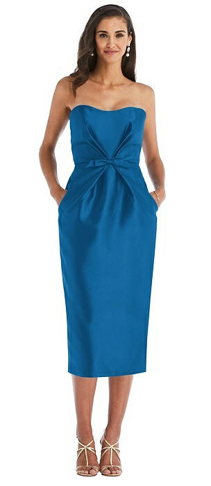 Strapless Bow-Waist Pleated Satin Pencil Dress with Pockets