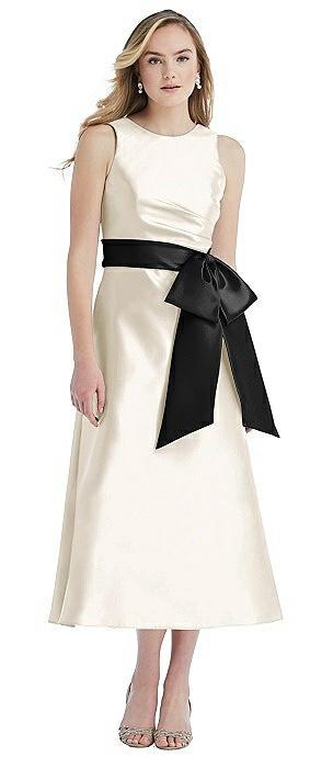 High-Neck Bow-Waist Midi Dress with Pockets