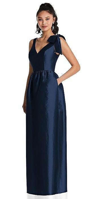Bowed-Shoulder Full Skirt Maxi Dress with Pockets