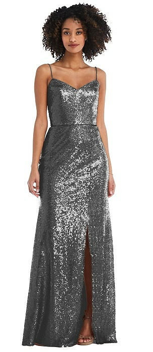 Spaghetti Strap Sequin Trumpet Gown with Side Slit