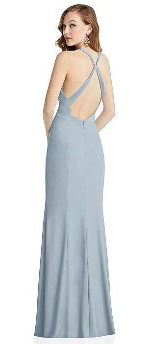High-Neck Halter Dress with Twist Criss Cross Back