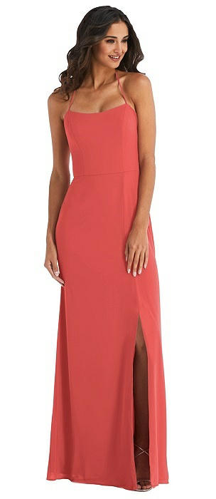 Spaghetti Strap Tie Halter Backless Trumpet Gown