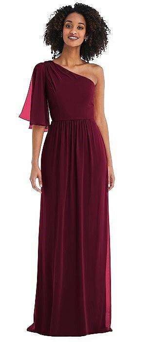 One-Shoulder Bell Sleeve Chiffon Maxi Dress
