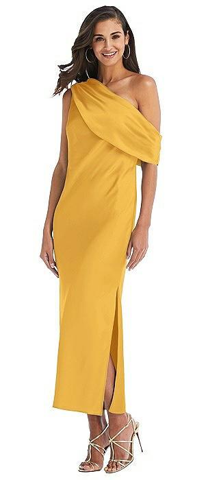 Draped One-Shoulder Convertible Midi Slip Dress
