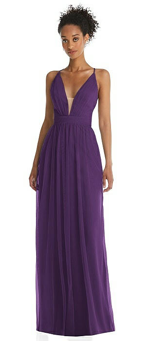 Illusion Deep V-Neck Tulle Maxi Dress with Adjustable Straps
