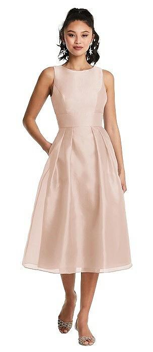 Bateau Neck Open-Back Pleated Skirt Midi Dress