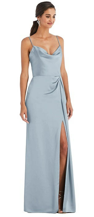 Cowl-Neck Draped Wrap Maxi Dress with Front Slit