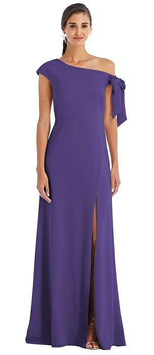 Off-the-Shoulder Tie Detail Maxi Dress with Front Slit