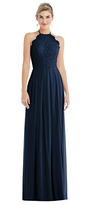 Tie-Neck Lace Halter Pleated Skirt Maxi Dress