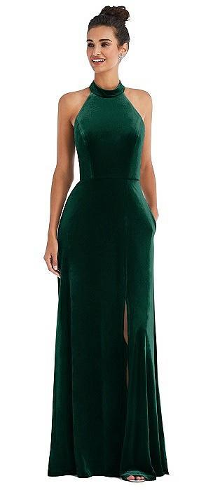 High-Neck Halter Velvet Maxi Dress with Front Slit