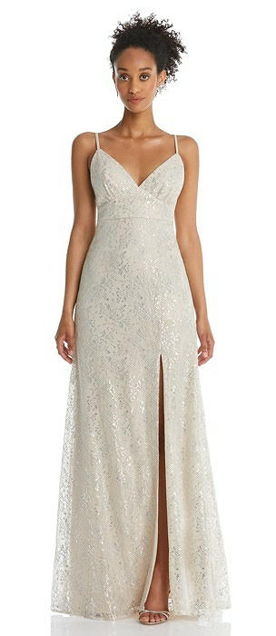 V-Neck Metallic Lace Maxi Dress with Adjustable Straps