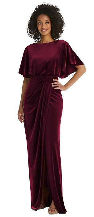 Flutter Sleeve Open-Back Velvet Maxi Dress with Draped Wrap Skirt