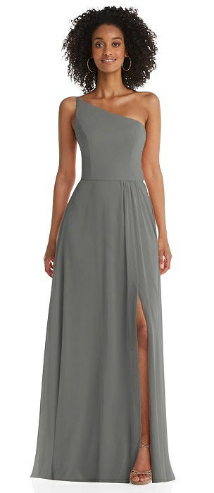 One-Shoulder Chiffon Maxi Dress with Shirred Front Slit