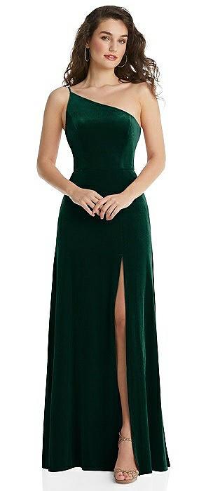 One-Shoulder Spaghetti Strap Velvet Maxi Dress with Pockets