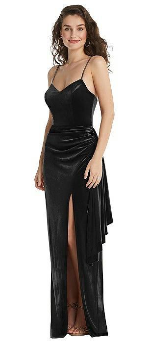 Spaghetti Strap Velvet Maxi Dress with Draped Cascade Skirt