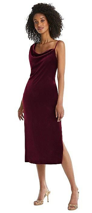 Asymmetrical One-Shoulder Velvet Midi Slip Dress