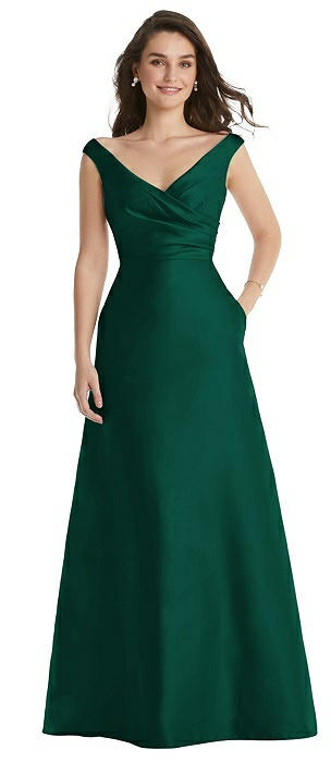Off-the-Shoulder Draped Wrap Maxi Dress with Pockets