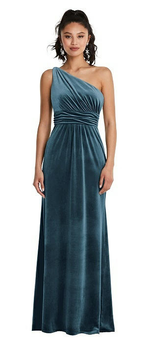 One-Shoulder Draped Velvet Maxi Dress