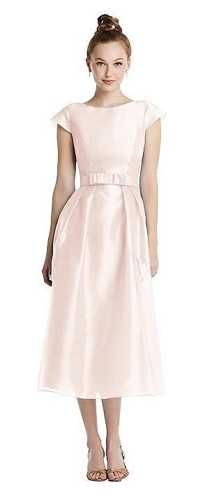 Cap Sleeve Pleated Skirt Midi Dress with Bowed Waist
