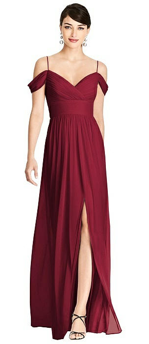 Pleated Off-the-Shoulder Crossover Bodice Maxi Dress